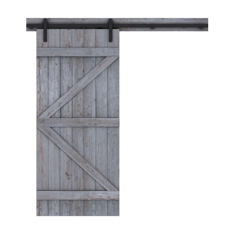 Loftdeur-barndeur rustiek grijs - voorzijde