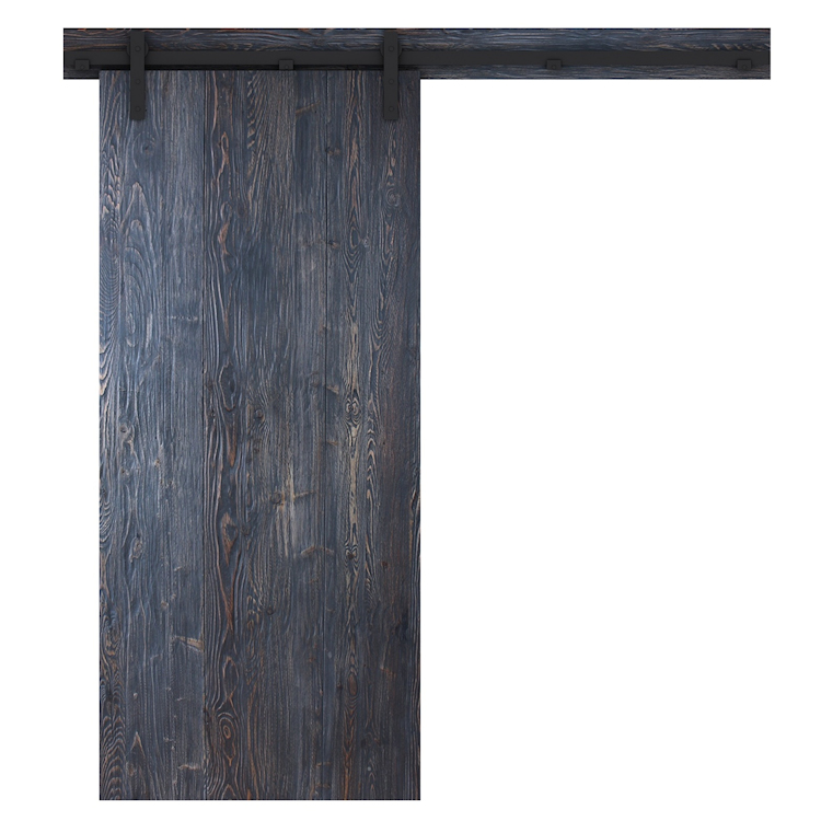 Loftdeur-barndeur rustiek zwart - achterzijde