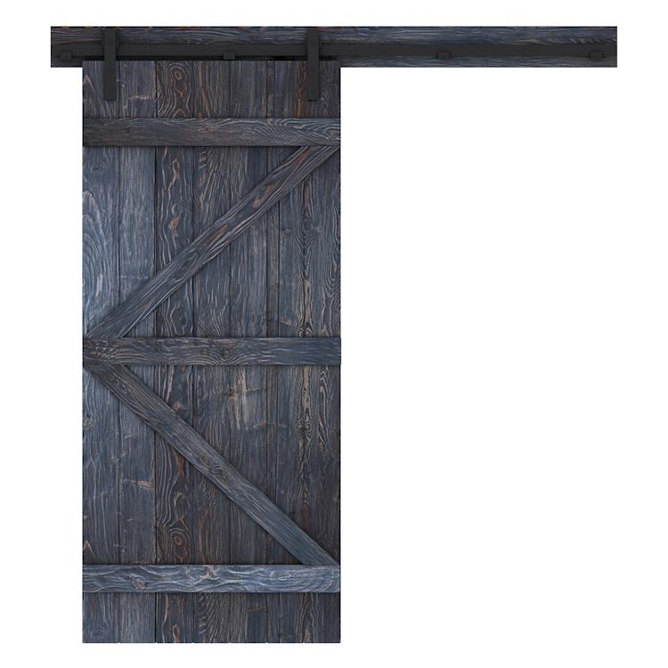 Porte de grange rustique noire - face avant